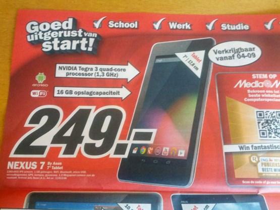 Google-tablet te koop in Nederland, nog niet in België