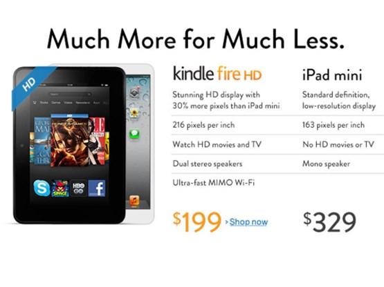 Amazon bekritiseert iPad mini in advertentie