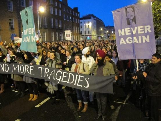Mars voor abortusrechten in Ierland