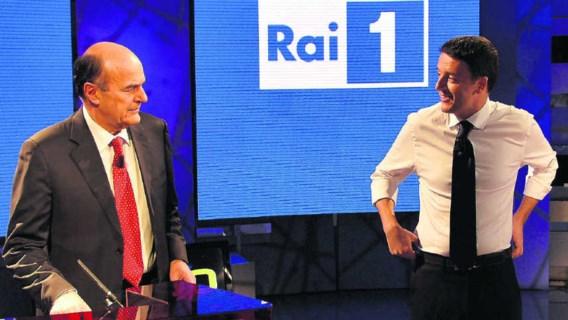 Wie wordt de nieuwe leider (en kandidaat-premier) van centrumlinks? Pier Luigi Bersani (l.) of Matteo Renzi (r.)?