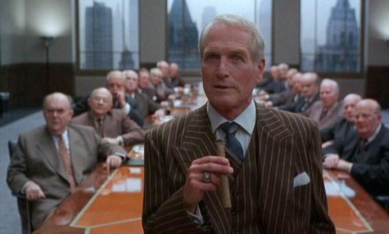 Paul Newman als de sluwe ceo Sidney J. Mussburger in de film 'The Hudsucker Proxy'.