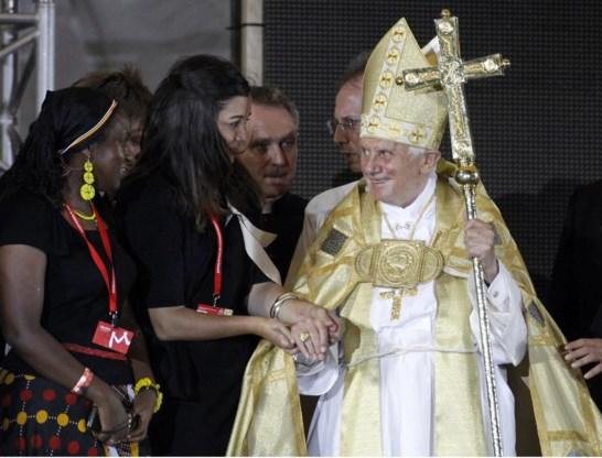 Paus benedictus XVI op de wereldjongerendagen in Madrid vorig jaar.