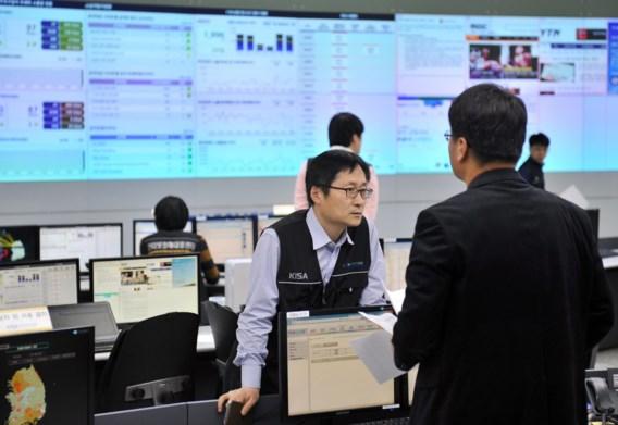 Op het hoofdkwartier van het Zuid-Koreaanse bureau voor de beveiliging van het internet wordt druk overlegd.