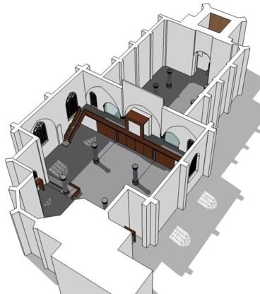 De scheidingswand kan worden opengezet voor grotere kerkelijke plechtigheden.