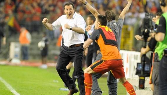 Marc Wilmots toonde uitbundig zijn blijdschap na de cruciale 2–1 overwinning tegen Servië.