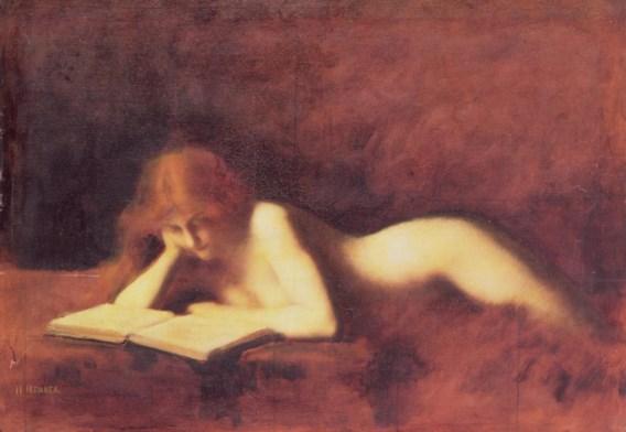 'De lezeres' van de negentiende-eeuwse Franse schilder Jean-Jacques Henner: romantische kitsch was lange tijd voorbehouden aan de Bouquetreeks, maar die tijden zijn voorbij.