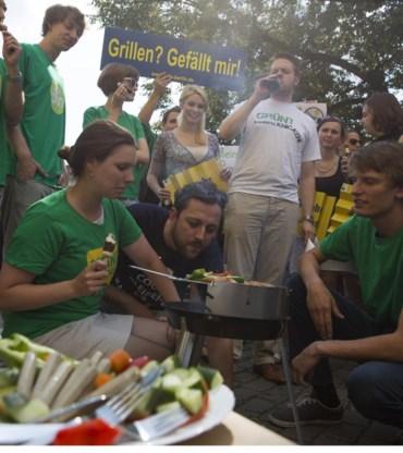 Protest tegen de 'veggiedag'.