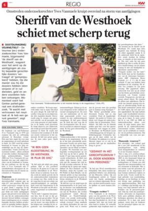 Het artikel in de Krant van West-Vlaanderen, met een foto van rechter Vanmaele naast de 'geplagieerde' buldog.