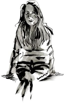 Een portret van Tatiana, gemaakt op basis van foto's op sociale media.