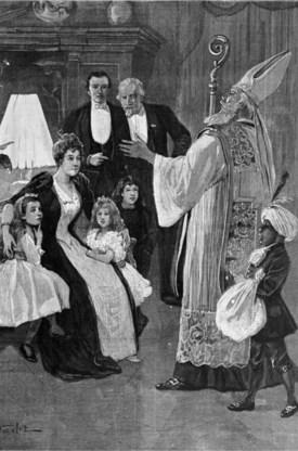 Zwarte Piet vergezelt de Sint sinds de koloniale periode, zoals op deze prent uit 1898.