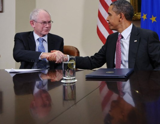 Herman Van Rompuy ontmoet zijn Amerikaanse 'evenknie' Barack Obama.