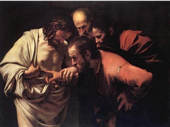 Caravaggio's 'Ongelovige Thomas' (Museum Sanssouci, Berlijn).