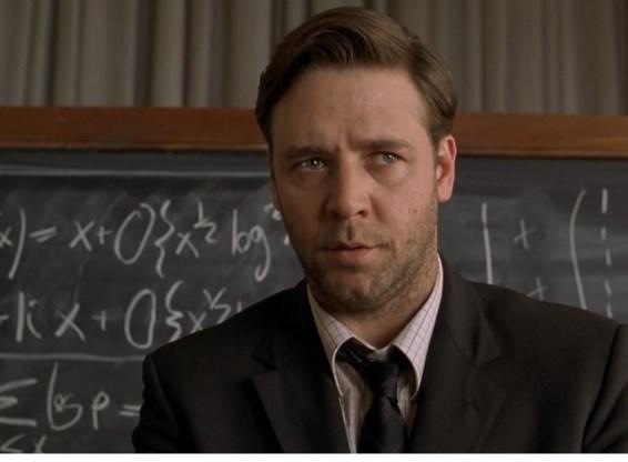 Russell Crowe als wiskundig genie in 'A beautiful mind'.