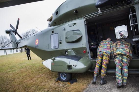 De EUBG kan ook luchtsteun inzetten, maar voorlopig niet deze gloednieuwe NH90-heli, die gisteren in Elsenborn werd geshowd.