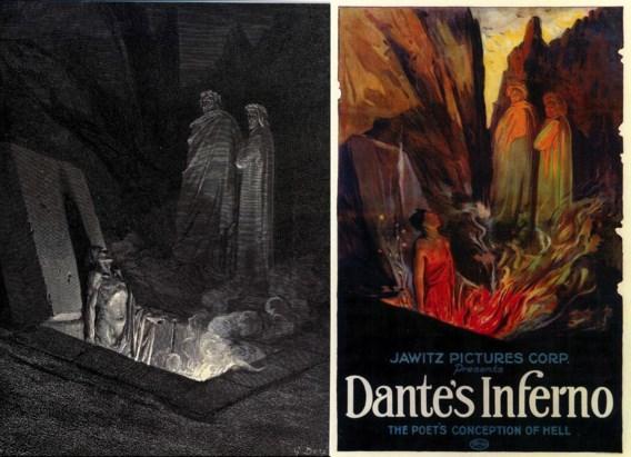 Linkseen illustratie van Doré: 'De hel van Dante', rechts de Amerikaanse filmaffiche van 'Dante's inferno'.
