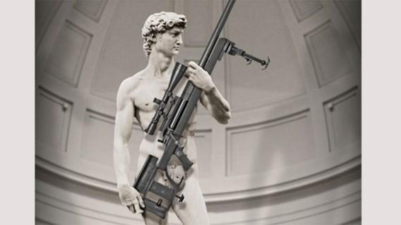Affiche van gewapende David schokt Italië