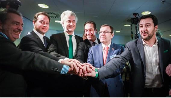 Afgelopen december ontmoetten leden van eurosceptische partijen elkaar in Turijn. Links Gerolf Annemans, in het midden Geert Wilders.