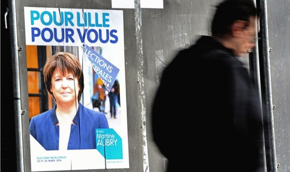 In Rijsel voert de socialistische Martine Aubry campagne zonder enige verwijzing naar het socialisme of naar haar partij.