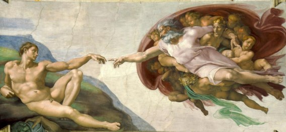 Michelangelo's 'Schepping van Adam', uit de Sixtijnse Kapel.