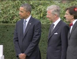 Obama, Filip en Di Rupo leggen bloemen
