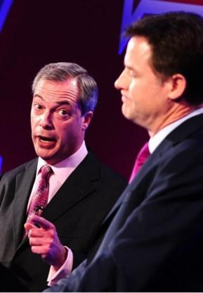 Farage (l.) en Clegg.