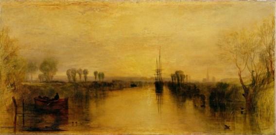 'Chichester Canal' van William Turner uit 1829, een 'vulkaanvrij' jaar. De onderzoekers maten de kleur van een strook net boven de horizon.