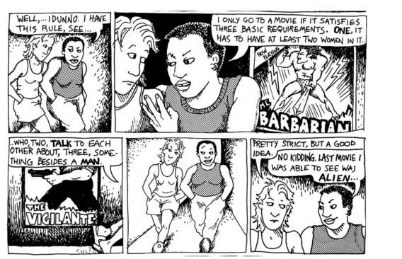 De oorsprong van de Bechdeltest ligt bij de strip 'Dykes to watch out for'. Niet enkel Hollywood zakt voor de test, maar ook Twitter.