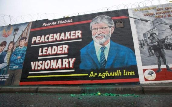Muurschildering ter ere van Gerry Adams op Falls Road in Belfast.