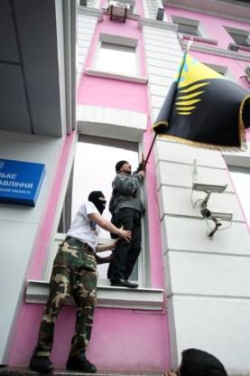 Pro-Russische betogers bezetten overheidsgebouwen in Donetsk.