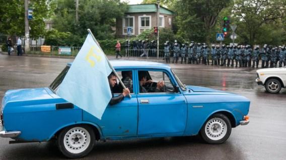 Vele Krim-Tataren trotseerden gisteren in Simferopol het  verbod op demonstraties.