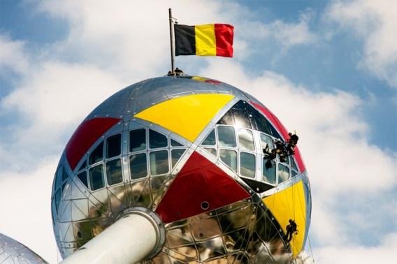 Atomium-bol in zwart, geel en rood