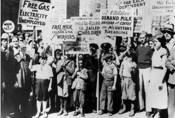 Amerikaanse communisten betogen voor werklozensteun na de beurscrash van 1929: alles waar Ayn Rand van gruwde.