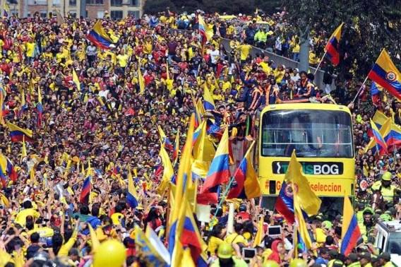 Colombiaanse nationale ploeg als helden onthaald