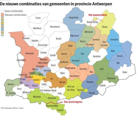 Voorgestelde combinaties van gemeenten in provincie Antwerpen.