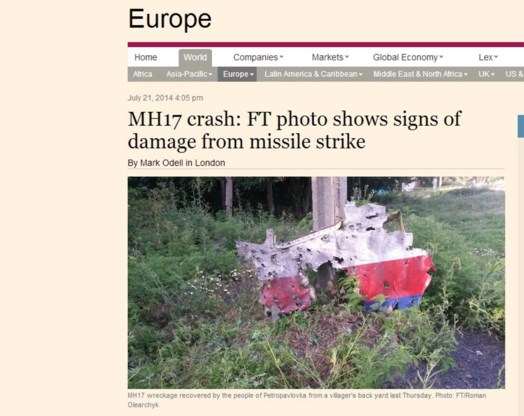 'Foto bewijst dat vliegtuig is neergeschoten'