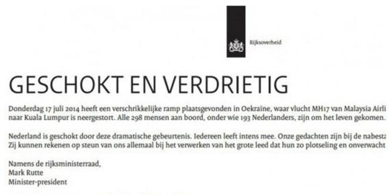 Rouwadvertentie in alle Nederlandse kranten