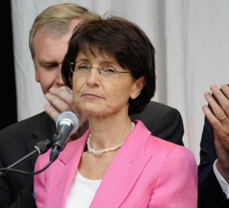 Een ontgoochelde CD&V-voorzitster Marianne Thyssen na de slechte verkiezingsresultaten van 2010.
