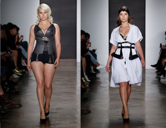 Volslanke modellen op de catwalk van New York Fashion Week