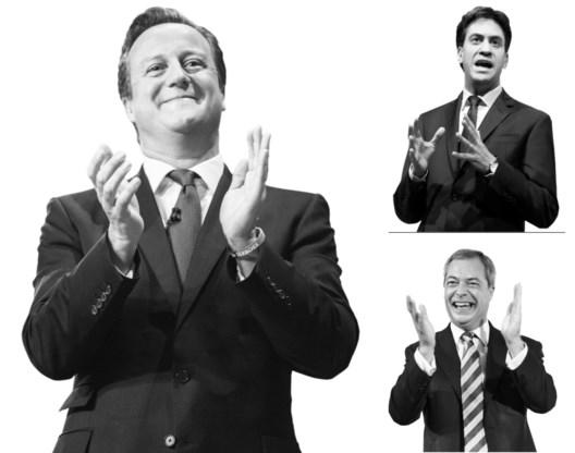 David Cameron (links), Ed Miliband(boven) en Nigel Farage