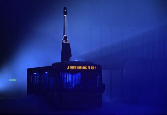 De passagiers van zeven lijnbussen beeldden de grote thema's van Mons 2015 uit. Hier componist Orlandus Lassus.