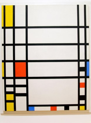 'Compositie met rood, geel en blauw' van Piet Mondriaan. 'Vrij' in Europa, copyrights in de VS.