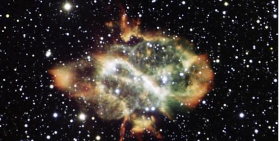 De 'Chinese Draak', ook gekend als NGC 5189, de gas- en stofwolk die uitgestoten werd door een rode reus in haar centrum.