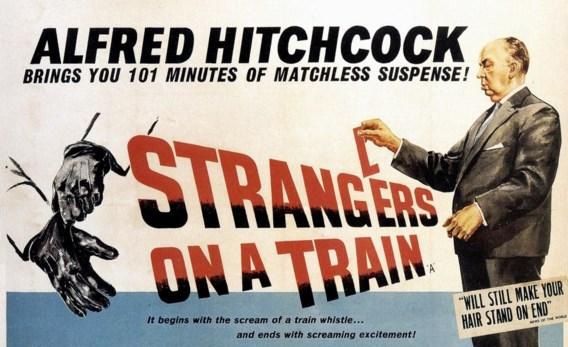 De affiche van 'Strangers on a train' van Alfred Hitchcock.