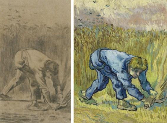 Tweemaal 'De maaier' van Van Gogh naar Millet. Boven de tekening die hij in 1880 maakte in de Borinage, onder de geschilderde versie van 1889 uit de Provence.