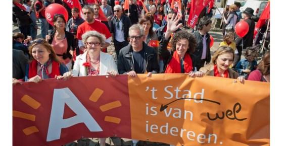 1 mei 2013, een jaar voor de desastreuze verkiezingen: Monica De Coninck, Robert Voorhamme en Yasmine Kherbache zij aan zij.