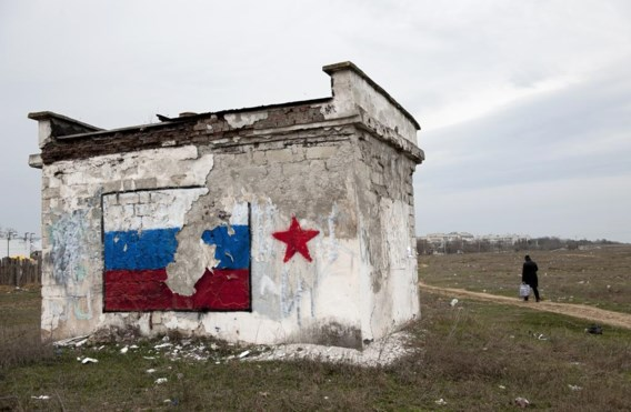 Op de Krim heersen de Russische symbolen, ook op ruïnes.