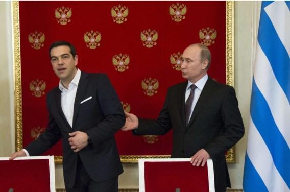 De Griekse premier Alexis Tsipras, dinsdag in het Kremlin op bezoek bij Vladimir Poetin.