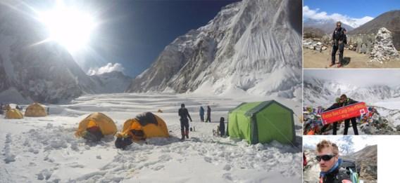 Jelle Veyt tijdens de beklimming van de Everest. De aardbeving maakte een einde aan de expeditie.