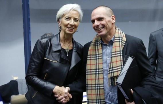 IMF-topvrouw Christine Lagarde met de Griekse minister van Financiën Yanis Varoufakis. De Grieken zitten geprangd tussen de botsende benaderingen van het IMF en Europa.