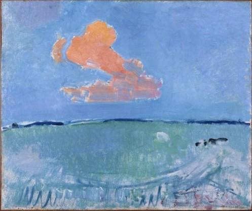 """<p>Tussen 1880 en 1914 verlaat de schilderkunst resoluut de weg van het realistisch naschilderen van de werkelijkheid en slaan vele kunstenaars de weg in van de abstractie. 'Rode Wolk' door Piet Mondriaan <span class=""""credit"""">rr</span></p>"""